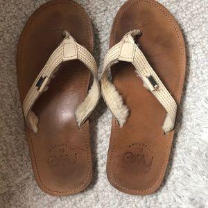 EMU leather flip flops